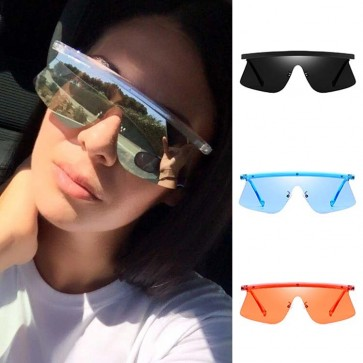 Futuristic Flat Top One Piece Sunglasses Shield Lens