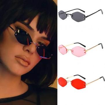 Hexagon Rimless Flat Lens Sunnies Rhomb Tiny Sunglasses