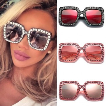 Rhinestone oversize sunglasses see-through fade tint