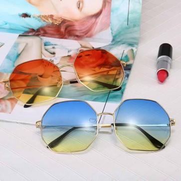 Octagon Metal Frame Gradient Tint Oversized Sunglasses