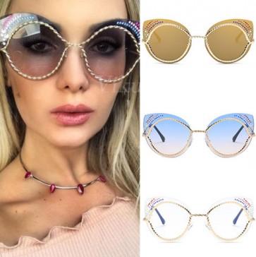 Ladies cat eyed sunglasses rhinestones pointed corner