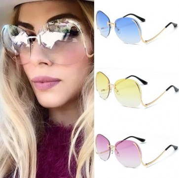 Superb stunning oversize rimless clear lens sunglasses