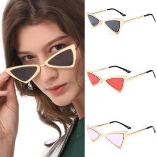 Vintage inspired triangle flat lens cat eye sunglasses