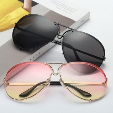 Fashion Aviator Sunglasses with Transparent Fade Lenses