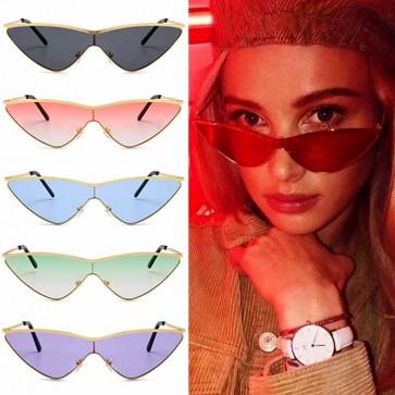 Girls full metal high tip pointed cat eye sunglasses