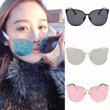 Girls Colored Mirror Lens Oversize Cat Eye Sunglasses