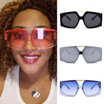 Futuristic See-Through Lens Bold Frame Oversize Aviator