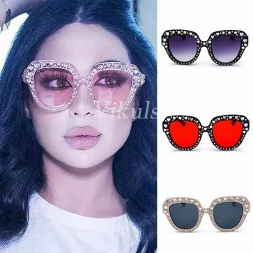 Bling Heart Pointed Tip Cat Eye Silhouette Sunglasses