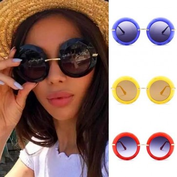 Gradient Tints Round Bold Rim Oversized Sunglasses