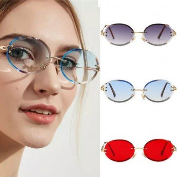 Modern Small Size Candy Color Oval Rimless Shades