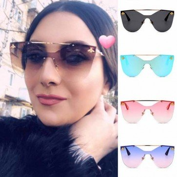 Cut Out Rimless Flat lens Gold Bee Oversize Sunglasses