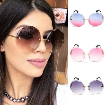 Modern chic round faceted rimless gradient sun glasses