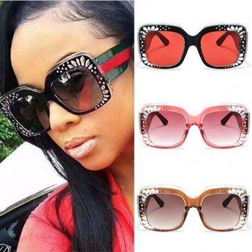 Modern Rhinestones Bold Oversize Square Sunglasses