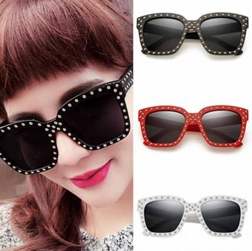 Large retro modern square block sunglasses with rivets