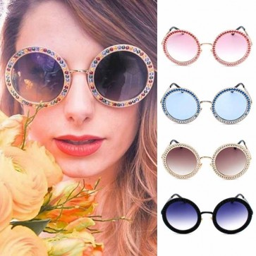 Oversize Round Lens Crystal Sunglasses Bling Shades
