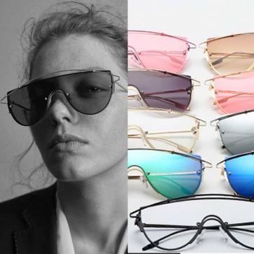 Modern metal crossbar wrap around shield sunglasses