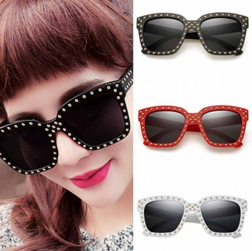 Large retro modern square block sunglasses with rivets
