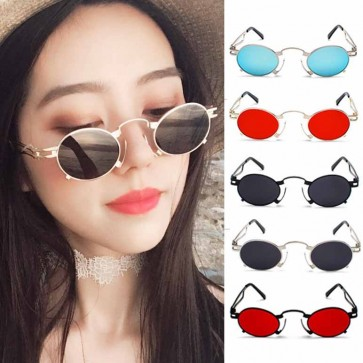 Punk Nose Pads Round Sunglasses Chic Frame Tinted Lens