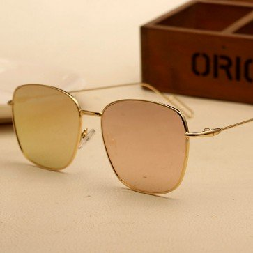 Minimal metal frame mirror flat lens square sunglasses