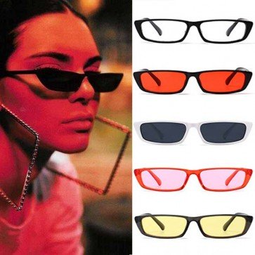 Trapezoid Frame Candy Color Tint Cat's Eye Sunglasses