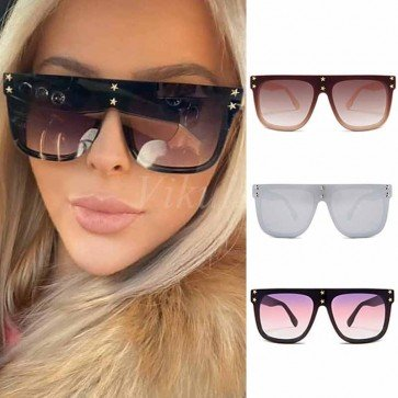 Large sporty studded one piece D frame sunglasses
