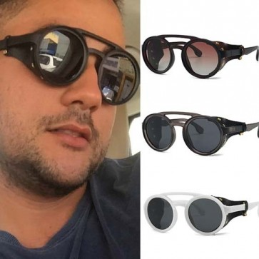 Retro steam punk round sunglasses leather side shields