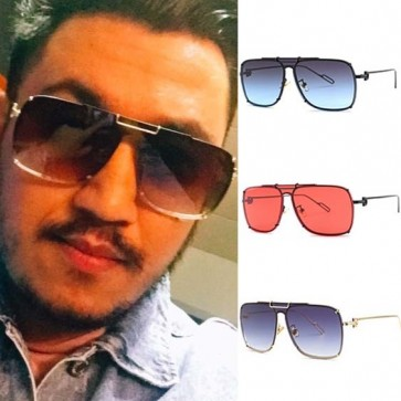 Flat Top Aviator Sunglasses with Gold Tone Nose Bar