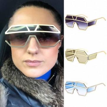 One piece shield lens steampunk wraparound sunglasses