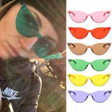 Cute modern cat-eye rim sunglasses candy color tint