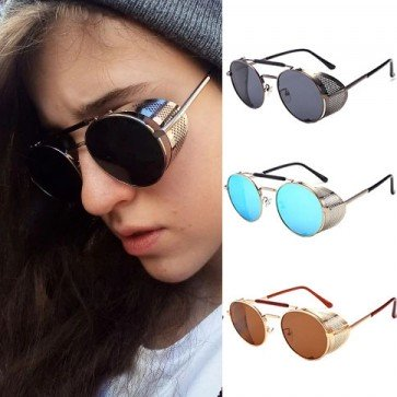 Round frame two nose bridges circle shades punk style