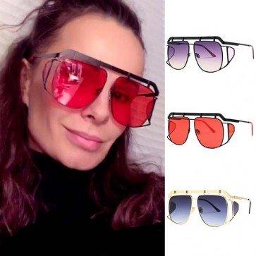 Metallic Gradient Lens Aviator Sunglasses For Unisex