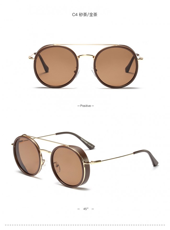 35d337297846 Wire Rim Round Steampunk Sunglasses w/ Side Shields