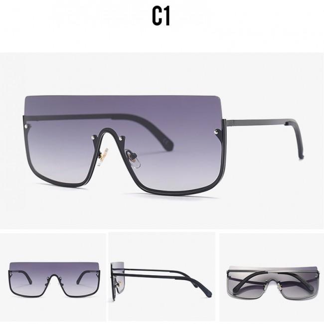 584241858 Oversize flat top shield lens metal aviator sunglasses · Zoom