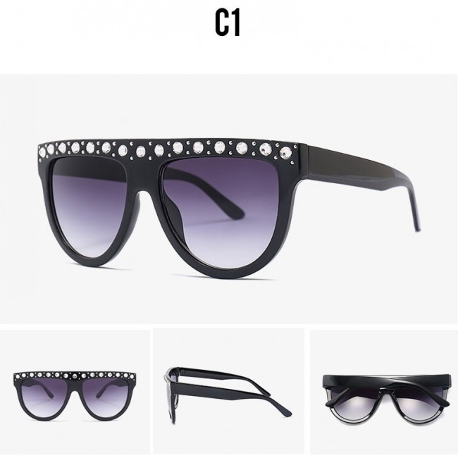 5147bd3be35 Stylish flat top round bottom crystal bling sunglasses · Zoom