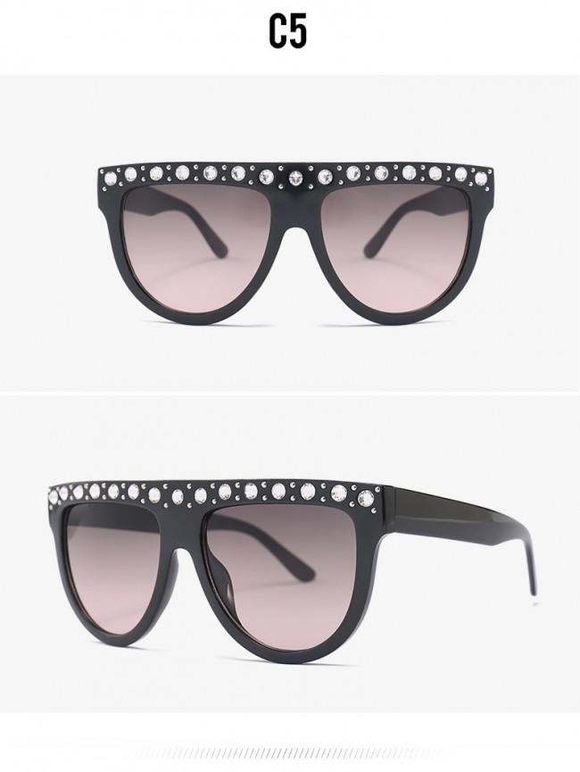 0818fe5a249 Stylish flat top round bottom crystal bling sunglasses