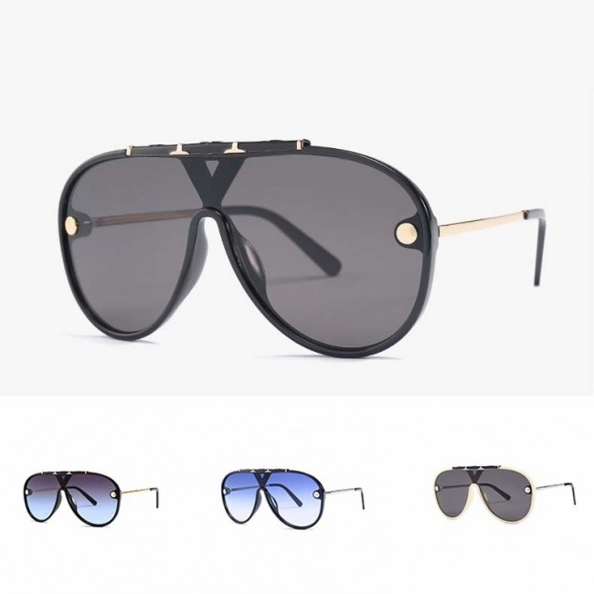 e2392a68223a Fashion aviators flat top big frame shield sunglasses