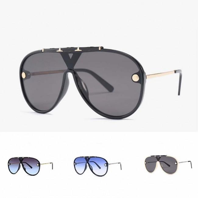 d5242fde2 Fashion aviators flat top big frame shield sunglasses · Zoom