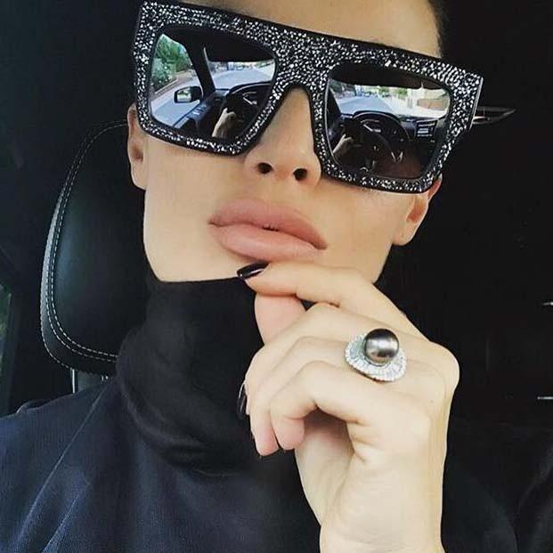 072a01e77b42 Retro bling rhinestone square shades cool sunglasses