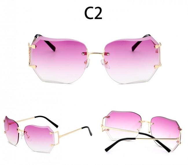 82ec2994f804d Oversize Rimless Sunglasses Women Fashion Gradient Lens