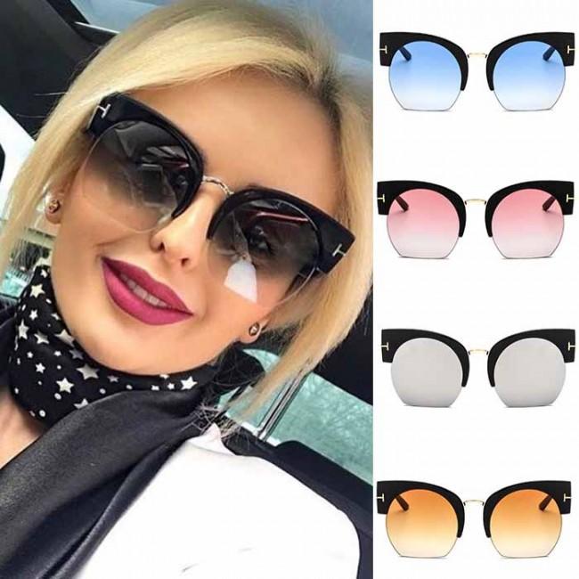 ecdbde89a Half frame dome lens oversized cat-eye sunglasses