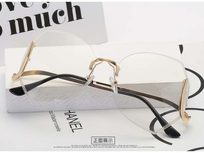 Rimless See Through Lens Heptagon Oversized Sunglasses