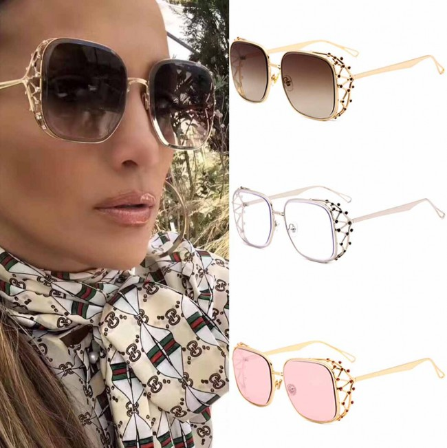 38900b744fb Gradient tint oversize sunglasses w  crystals on sides