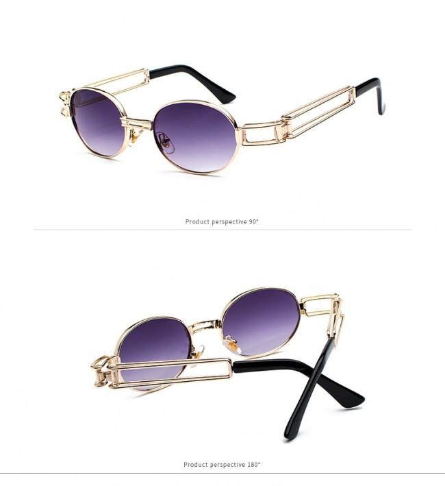 0f90e23bfcd Small round oval gold sunglasses steampunk style hi tek