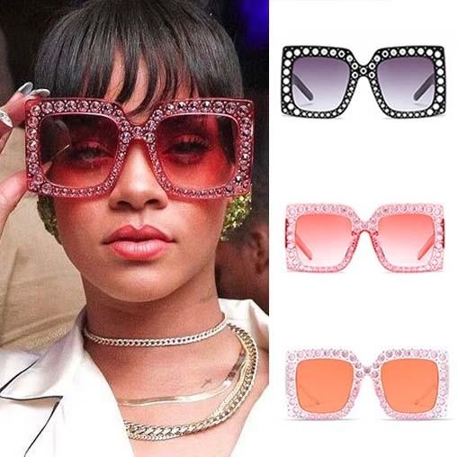 5af472b22b39 Oversized Sunglasses Square Frame Bling Rhinestones · Zoom