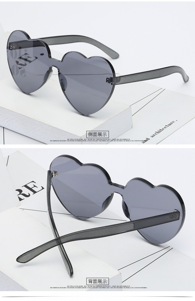 d64c809ff2 One Piece Lens Rimless Block Heart Shaped Sunglasses