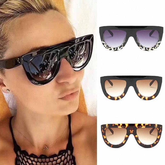 13c2c24a2 Chic Round Bottom Sunglasses Flat Top Thick Frame · Zoom