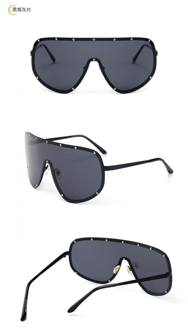 2cf6e6b0382 Modern Shield Metal Frame Pilot Sunglasses with Rivets