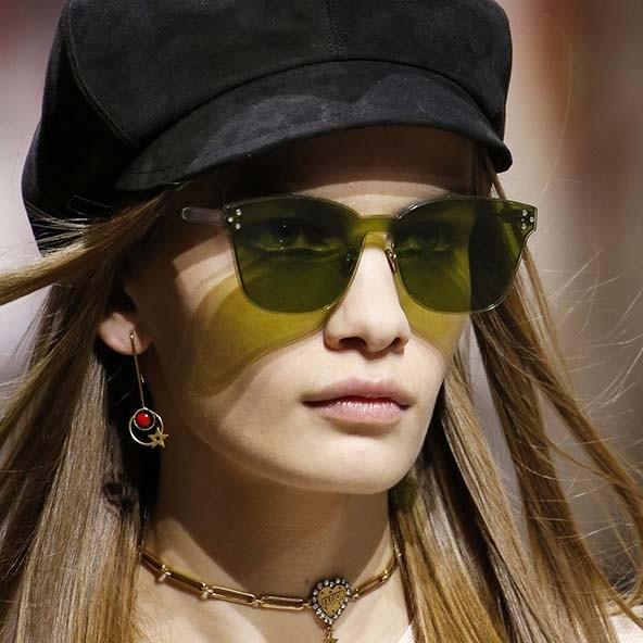green rimless sunglasses