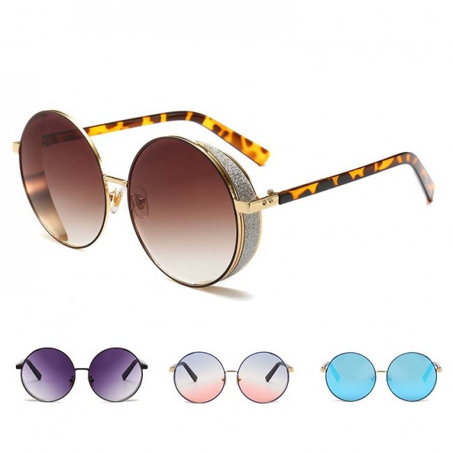 5681539df Retro festival punk sunglasses round lens side shield · Zoom