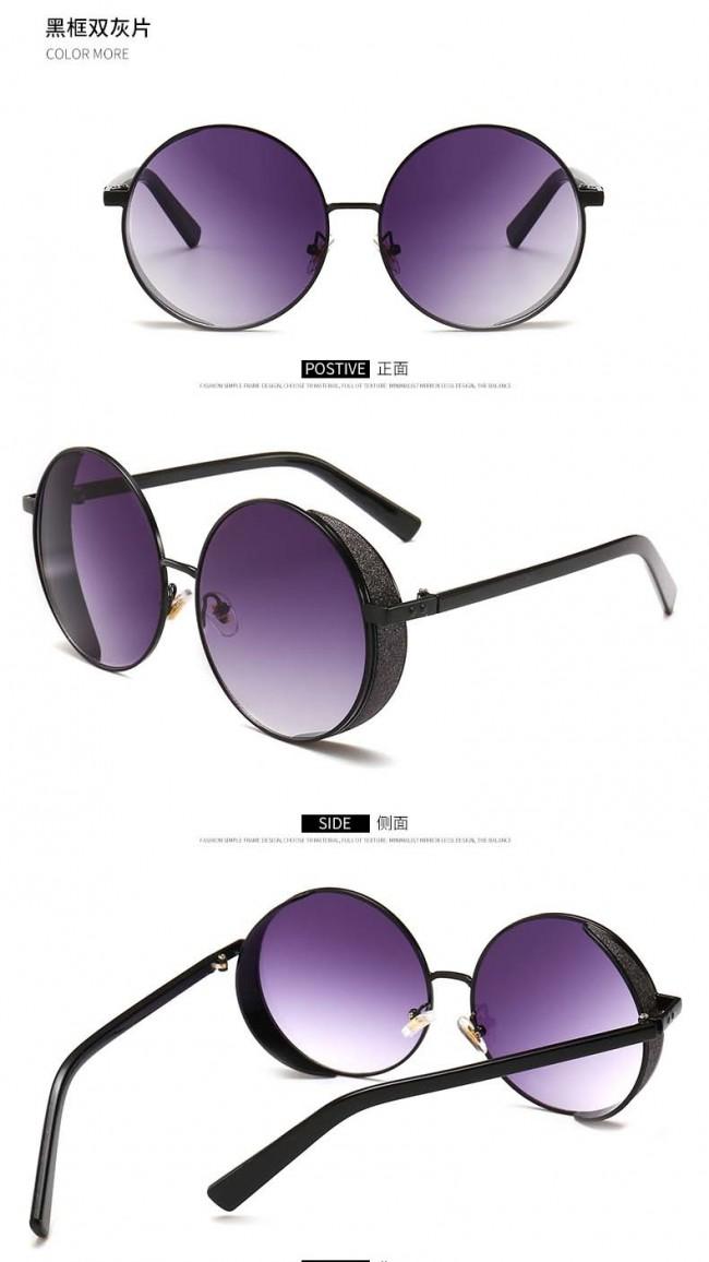 3f096af6188 Retro festival punk sunglasses round lens side shield